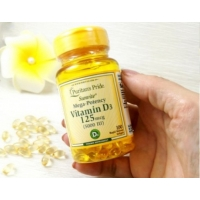 Витамин Д3 высокоактивный 125 мкг, 5000 единиц, Puritans Pride 100 штук