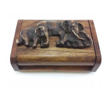 Шкатулка деревянная тайский стиль со слонами